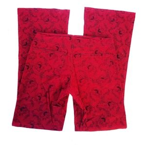 Vintage 90s Flare Red Black Pants Size Small